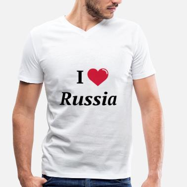 I Love Russia Design - Men's Organic V-Neck T-Shirt by Stanley & Stella