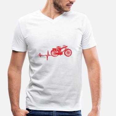 Electric Bike Gift heartbeat electric bike - Men's Organic V-Neck T-Shirt by Stanley & Stella