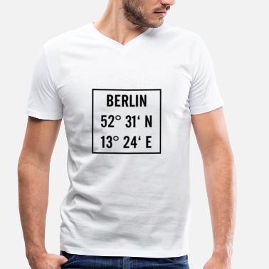 Longitude Berlin black with latitude and longitude - Men's Organic V-Neck T-Shirt by Stanley & Stella