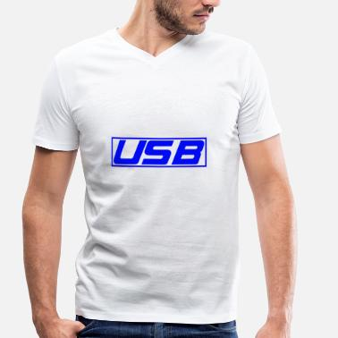 Usb USB - Men's Organic V-Neck T-Shirt by Stanley & Stella