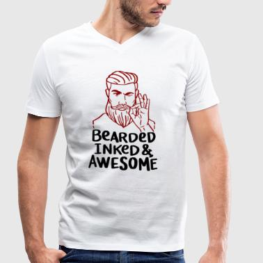 Awesome Beard Bearded Inked and Awesome - Beard Tattoo Beard Care - Men's Organic V-Neck T-Shirt by Stanley & Stella