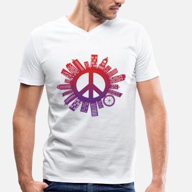 Vapenstillestånd City of Peace World Peace - Ekologisk T-shirt med V-ringning herr från Stanley & Stella