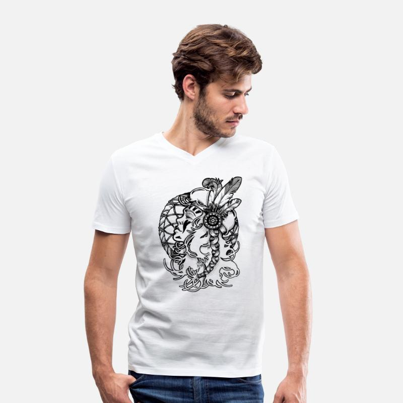 Collection T-shirts - Rêveuse Sioux - T-shirt bio col V Homme blanc