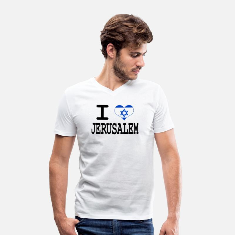 Jerusalem T-Shirts - i love Jerusalem - Men's V-Neck T-Shirt white