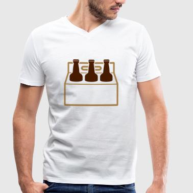 Six Pack Beer A six-pack of beer bottles - Men's Organic V-Neck T-Shirt by Stanley & Stella