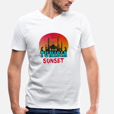 Sousse Tunisia Sunset Vintage / Gift Tunis - Men's Organic V-Neck T-Shirt by Stanley & Stella