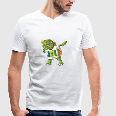 Saint Vincent And The Grenadines St. Vincent and the Grenadines Dabbing turtle - Men's Organic V-Neck T-Shirt by Stanley & Stella