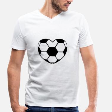 Football Heart Football heart football heart heart ball - Men's Organic V-Neck T-Shirt by Stanley & Stella