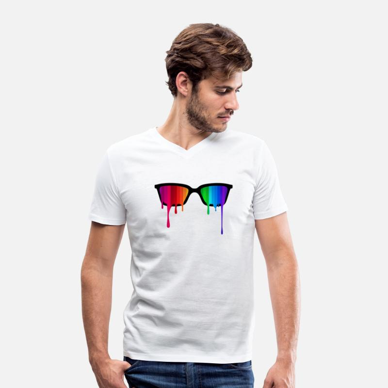 Lgbt T-Shirts - Rainbow - Spectrum (Pride) / Hipster Nerd Glasses - Men's Organic V-Neck T-Shirt white