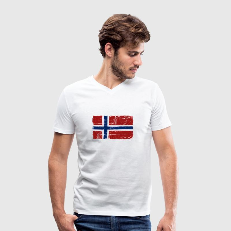 Norway Flag - Vintage Look  - Men's Organic V-Neck T-Shirt by Stanley & Stella