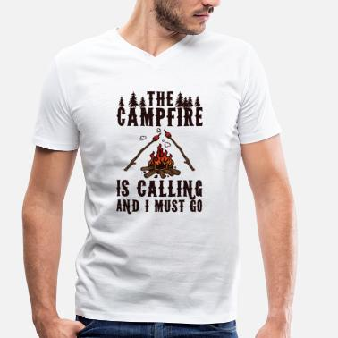 I Must Go The campfire is calling and i must go - Men's Organic V-Neck T-Shirt by Stanley & Stella