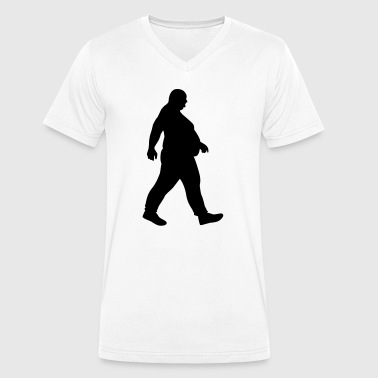 Fat man running - fat - of whom are obese obese-Dick - Men's Organic V-Neck T-Shirt by Stanley & Stella