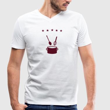 Cooking Pot 5 star pot - cook  - Men's Organic V-Neck T-Shirt by Stanley & Stella