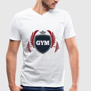 Gym fitness with crown and barbell - Men's Organic V-Neck T-Shirt by Stanley & Stella