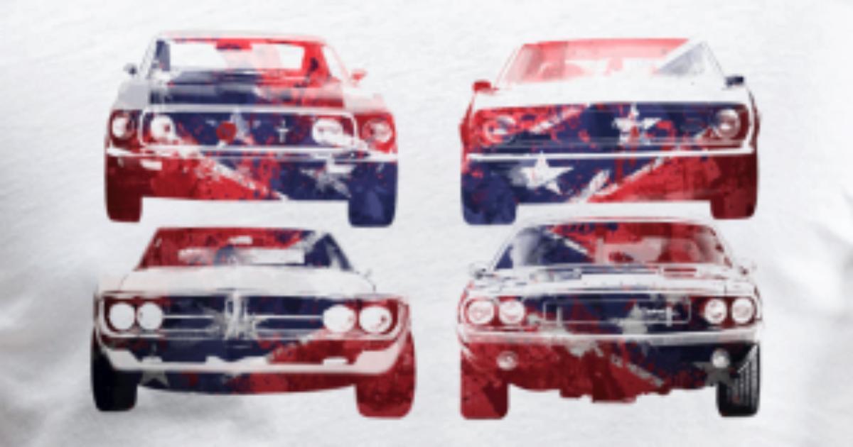patriot power muscle car männer bio t-shirt mit v-ausschnitt