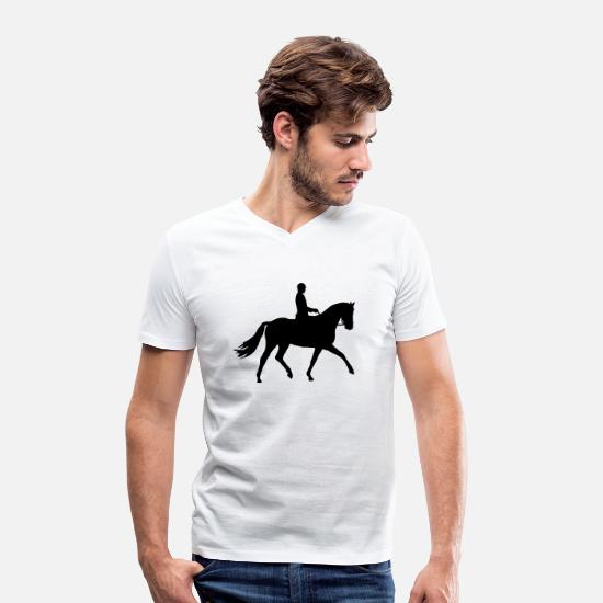 Show Jumping T-Shirts - reiter_01_1c - Men's Organic V-Neck T-Shirt white