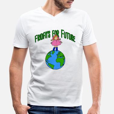 Strip Greta as a cartoon character on Earth, Fridays for future - Men's Organic V-Neck T-Shirt