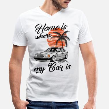 190e home is where my car is W201 190E - Men's Organic V-Neck T-Shirt by Stanley & Stella
