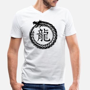 Horoscope Caractères chinois zodiaque horoscope dragon - T-shirt bio col V Homme