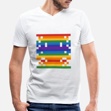 16bit Spaceship: 16-bit, long, narrow UFO - Men's Organic V-Neck T-Shirt