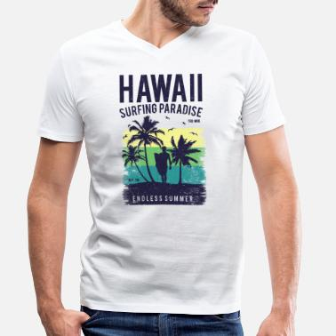 Hawaii Hawaii surfer paradise palms beach and vacation - Men's Organic V-Neck T-Shirt