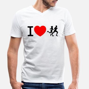 Sprinten I love racing - jogging - Men's Organic V-Neck T-Shirt