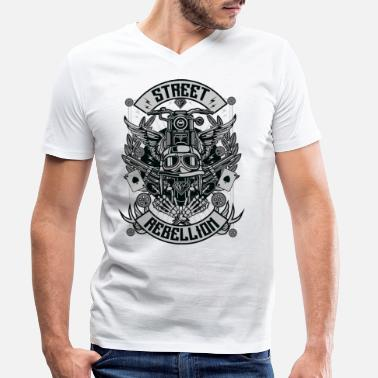 Biker BIKER REBELLION - Biker & Motorcycle Shirt Gift - Men's Organic V-Neck T-Shirt