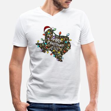Merry Merry Christmas Y'all Leopard Texas - Men's Organic V-Neck T-Shirt