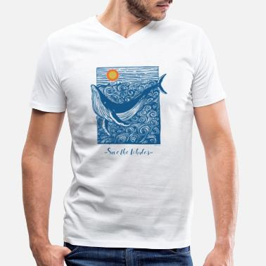 Save The Whales Save the Whales Doodle - T-skjorte med V-hals for menn