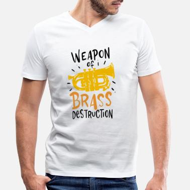 Tuba Player Weapon Of Brass Destruction Tuba Music - Men's Organic V-Neck T-Shirt