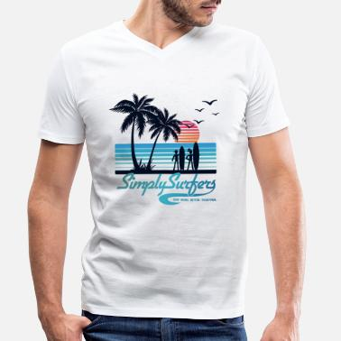 Sun Sea Surf Sea, Sun & Surf (blue) - Men's Organic V-Neck T-Shirt by Stanley & Stella