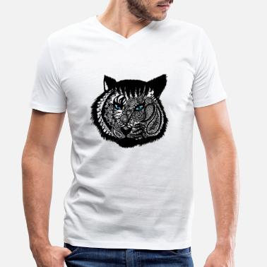 Funky Tattoo Animal Tattoo & Tribals Gift eg Birthday Tiger - Men's Organic V-Neck T-Shirt by Stanley & Stella
