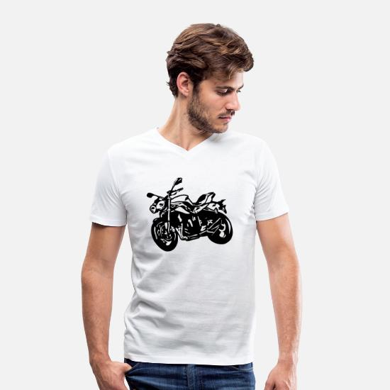 Motorcycle T-Shirts - motorcycle Naked Bike Street Fighter - Men's Organic V-Neck T-Shirt white