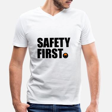 Safety Helmet Safety First Safety First Protective Helmet Protect - Men's Organic V-Neck T-Shirt by Stanley & Stella
