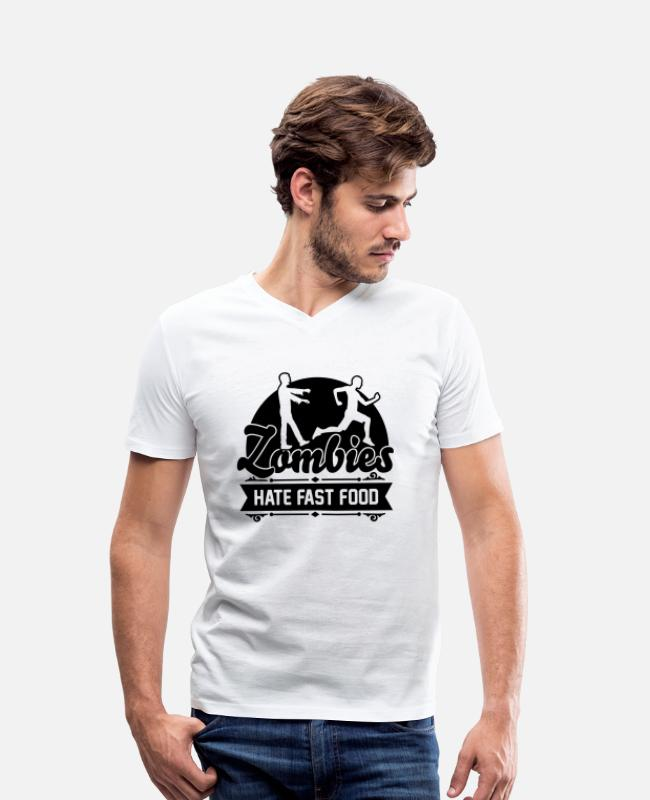 Sport T-Shirts - Zombies hate fast food - Zombie - Humor - Jogger - Men's Organic V-Neck T-Shirt white