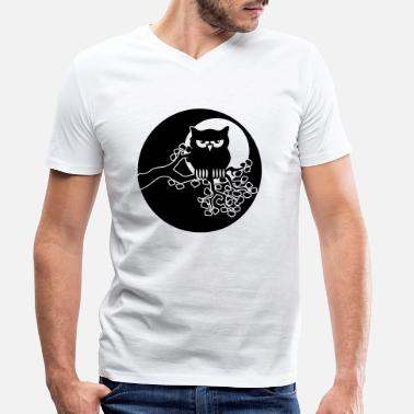Ast full moon owl ast - Men's Organic V-Neck T-Shirt