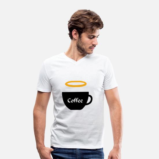 Gift Idea T-Shirts - Cup with halo coffee tea break drink - Men's Organic V-Neck T-Shirt white