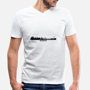 Seattle Seahawks Seattle Skyline Panorama Space Needle - Ekologisk T-shirt med V-ringning herr från Stanley & Stella