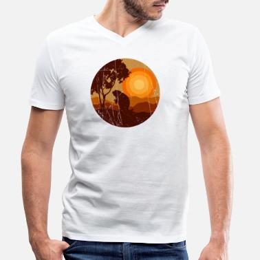 Nerd Bieber in the sunset in the nature - Men's Organic V-Neck T-Shirt