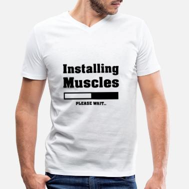 Muscle Humorous Installing Muscles Design - Men's Organic V-Neck T-Shirt