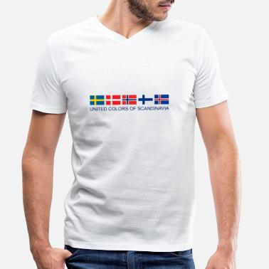 Scandinavia United Colors Of Scandinavia | Scandinavia flag - Men's Organic V-Neck T-Shirt