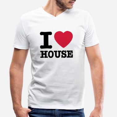 I Love House I love house / I heart house - Men's Organic V-Neck T-Shirt