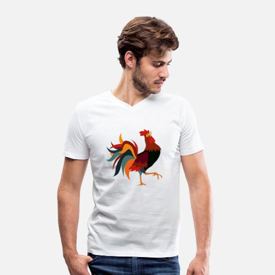 Rooster T-Shirts - Rooster - Men's Organic V-Neck T-Shirt white