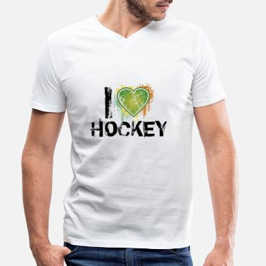 I Love Hockey i love hockey de - T-skjorte med V-hals for menn