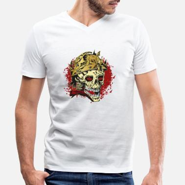 Rockabilly Rockabilly skull with helmet - Men's Organic V-Neck T-Shirt