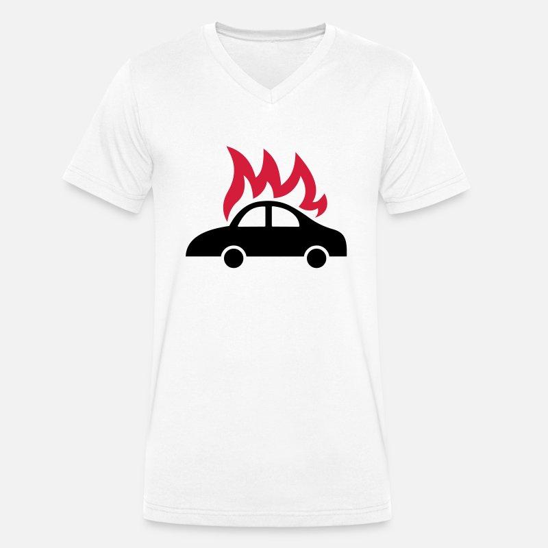 bil + brann T skjorte med V hals for menn | Spreadshirt