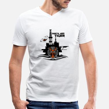 Oil North Sea Tiger Oil Rig Platform Aberdeen - Men's Organic V-Neck T-Shirt