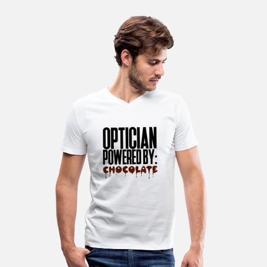 Occupation T-Shirts - Optician: Optician powered by: Chocolate - Men's Organic V-Neck T-Shirt white