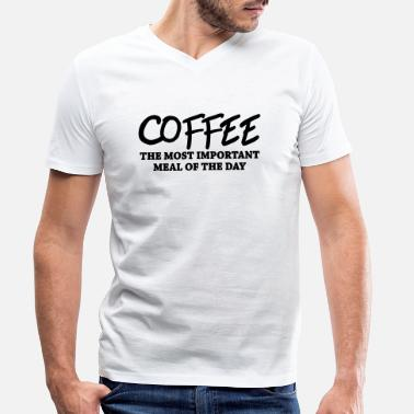 Junkie Coffee - the most important meal - Camiseta con cuello de pico hombre