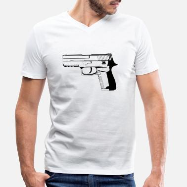 9mm Pistol 9mm - Men's Organic V-Neck T-Shirt